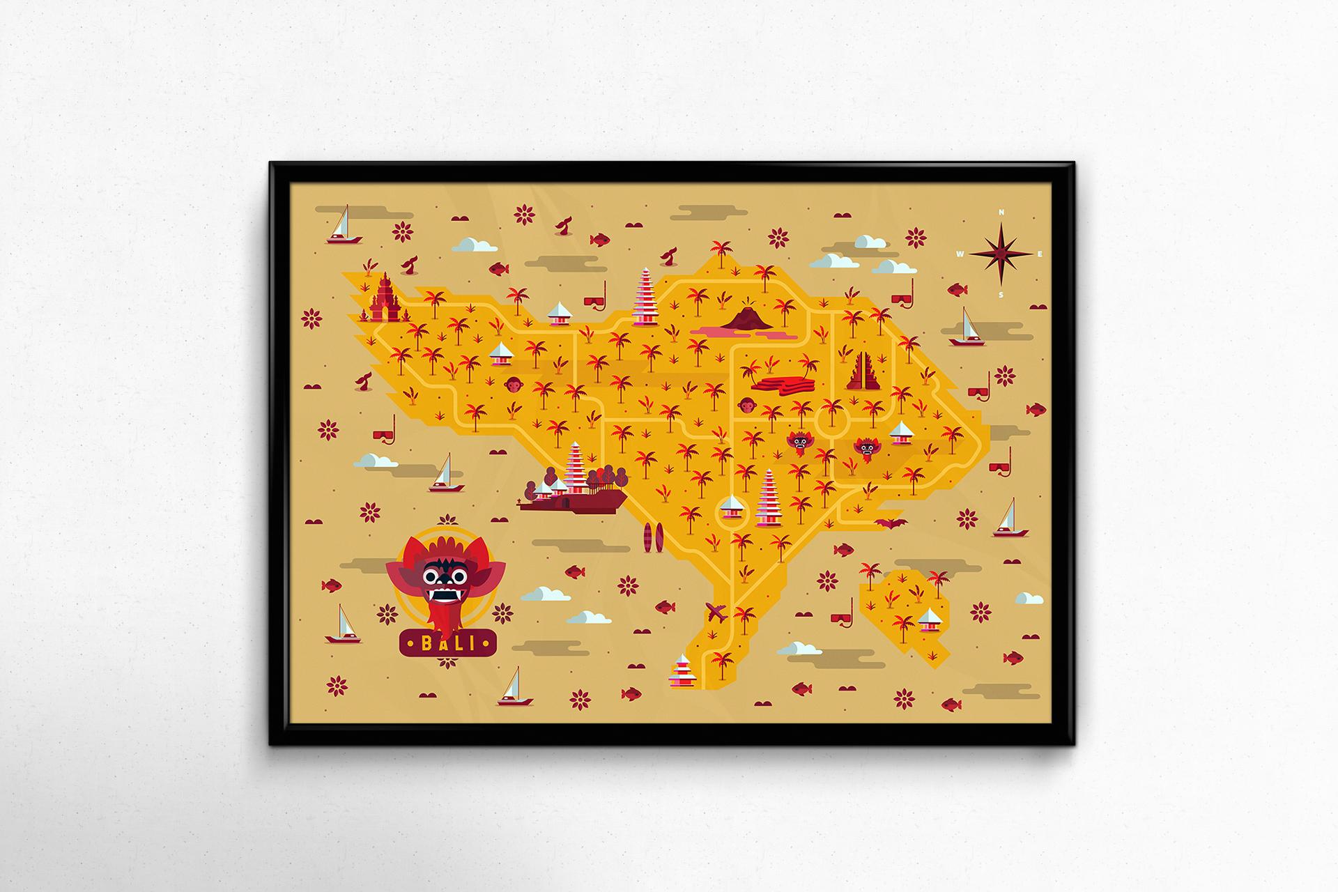 Bali-Map-Hugo Puente marron cuadro
