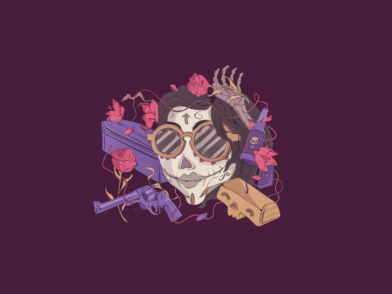 Flamingo-Dia de los muertos-okohk